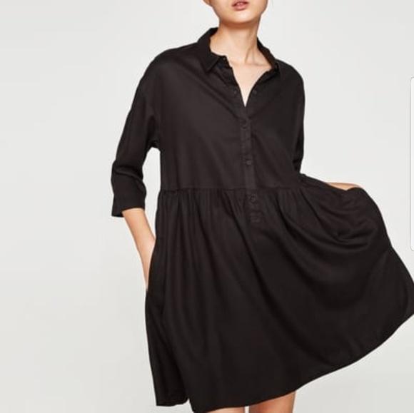 4b615621a0641d Zara Dresses | Black Ruffle Shirt Dress | Poshmark
